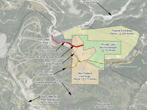 Map of proposed land exchange for Village at Wolf Creek