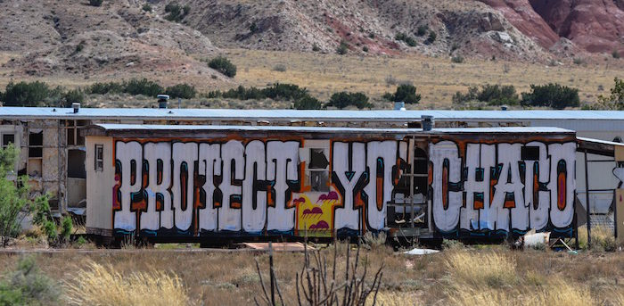 Graffiti saying Protect Chaco