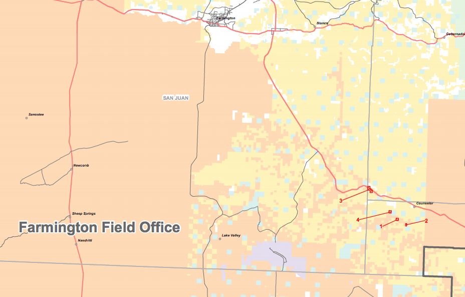 This map shows the January 2017 lease sale parcels. The purple denotes chaco Culture National Historical Park.