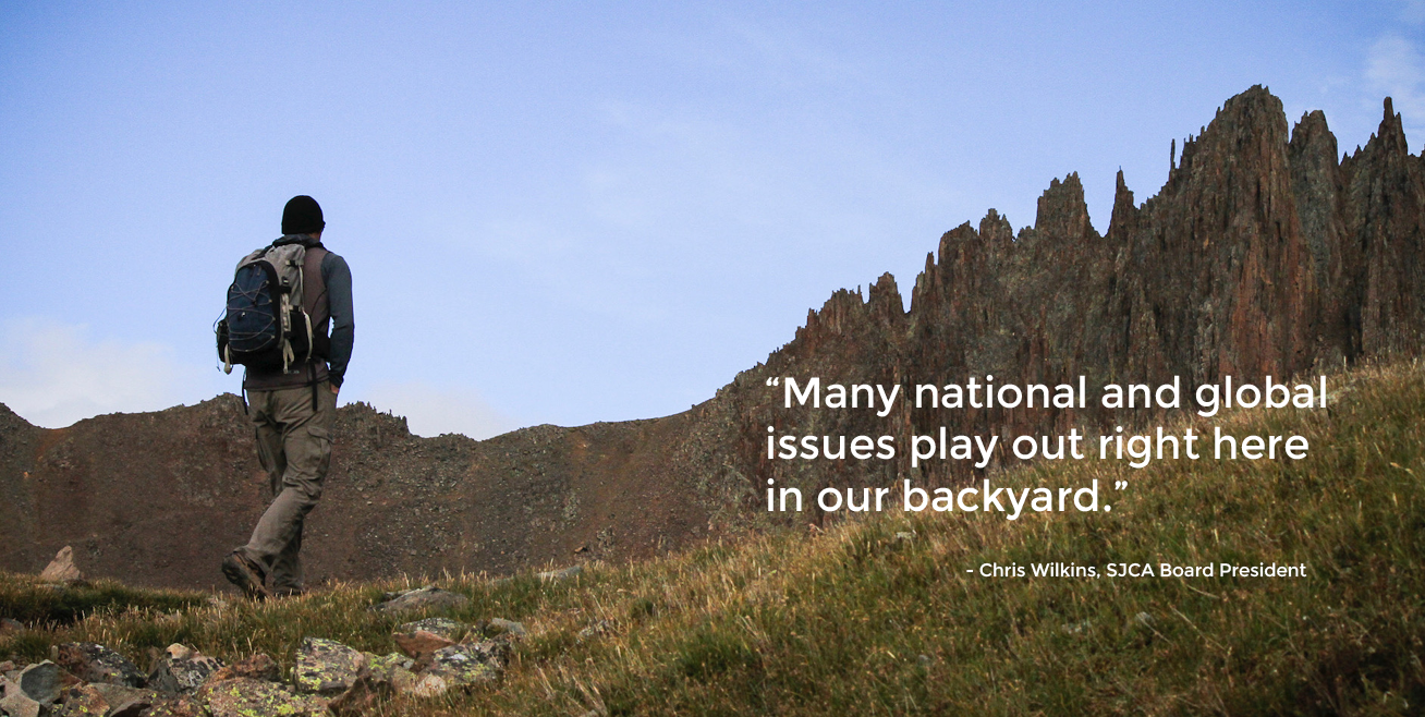Photo of hiker with quote