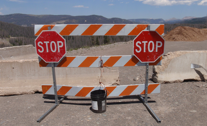 Stop signs at Wolf Creek