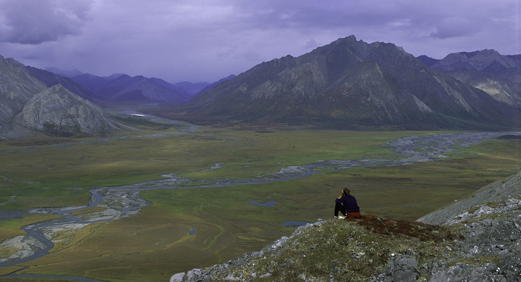 hiker in arctic national wildlife refuge