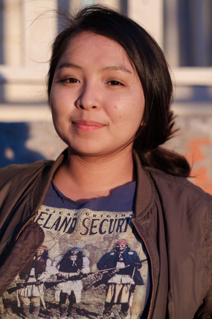 """I read a lot, I research, and I find ways to be home, be with the family… Resisting is hard, because you also have to care for your family and care for yourself.""<br /><br />- Cheyenne, Community Activist"