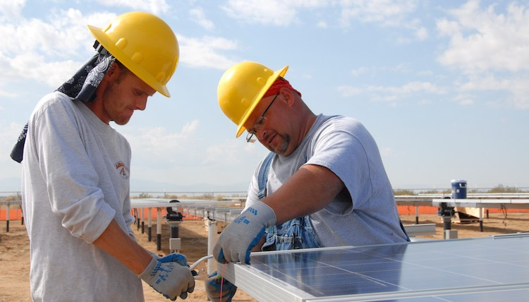 photo of solar workers