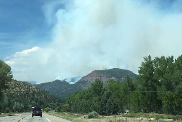 Car driving toward 416 Fire