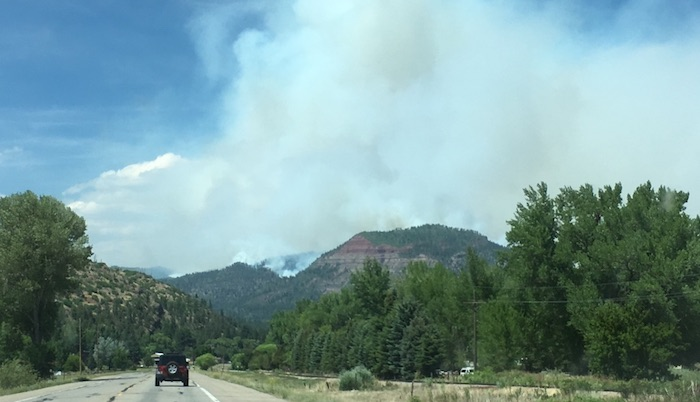 Car driving toward 416 Fire