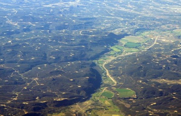 Aerial view of San Juan Basin wells