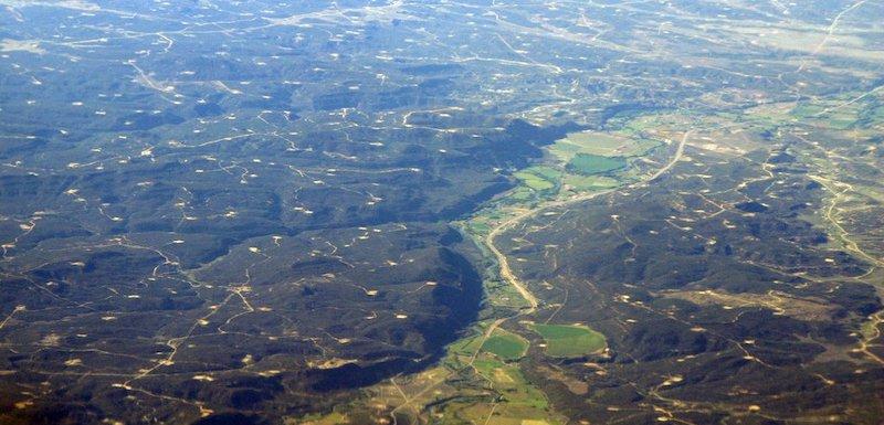 Aerial view of San Juan Basin wells