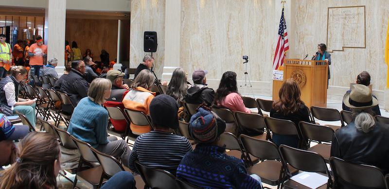 Stephanie Richards Garcia speaking at NM Public Lands Rally