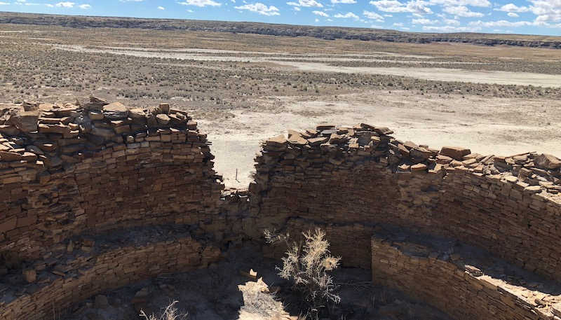 Image of chaco ruins beyond the park
