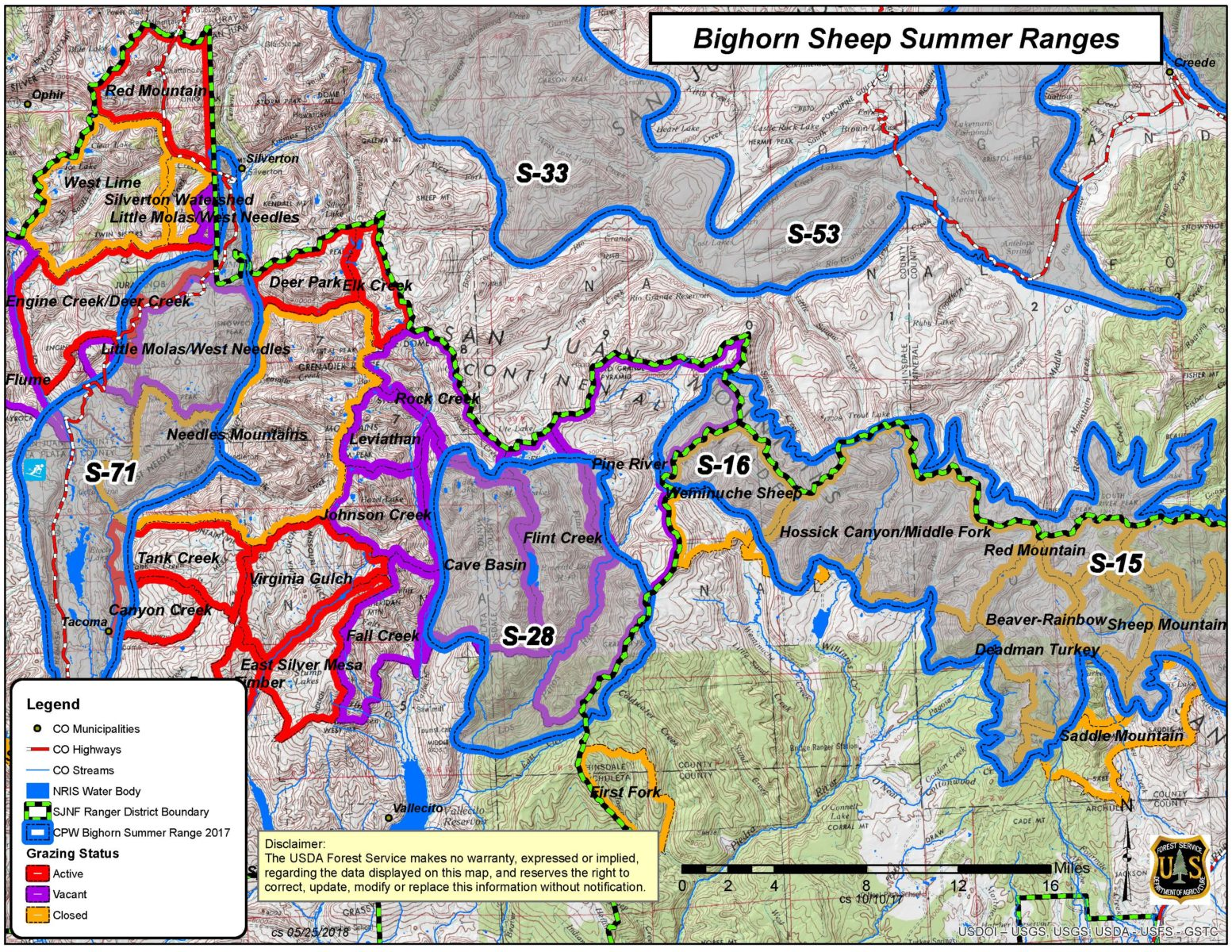 Bighorn sheep summer ranges